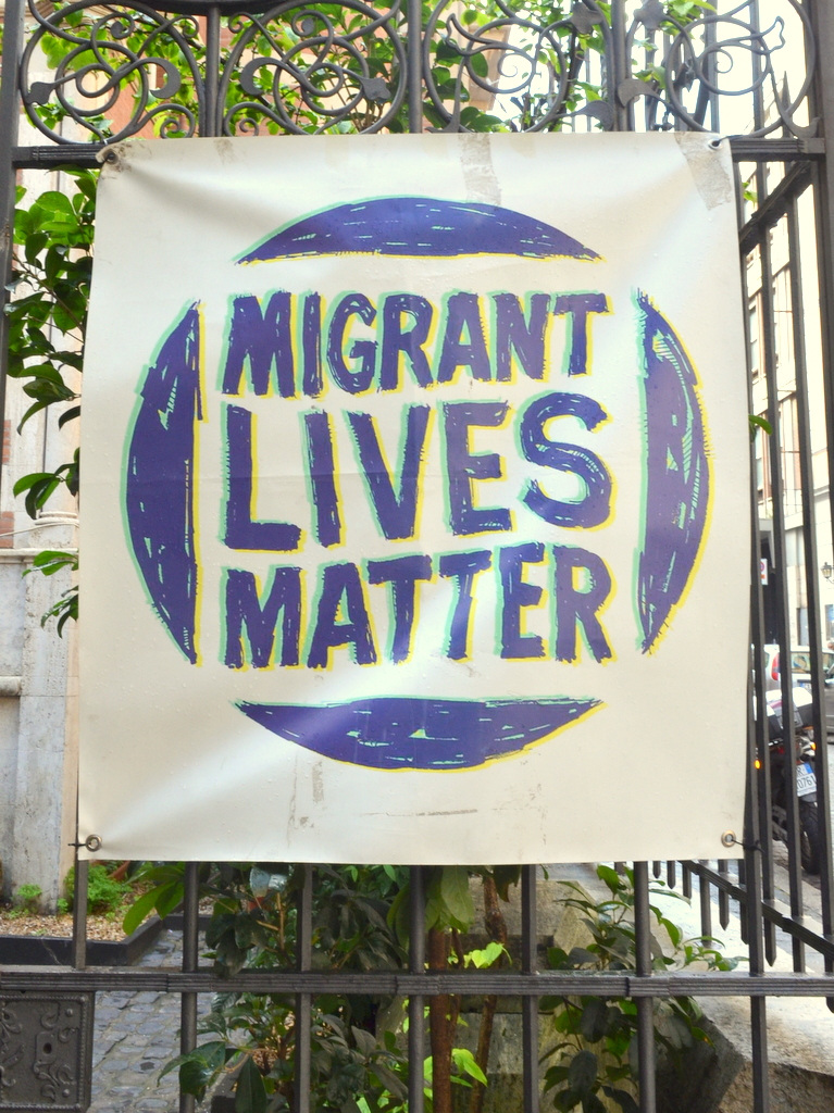 The Banner outside the Joel Nafuma Refugee Center in central Rome. The provides shelter and activities for hundreds of refugees daily. Photo by Justin Catanoso