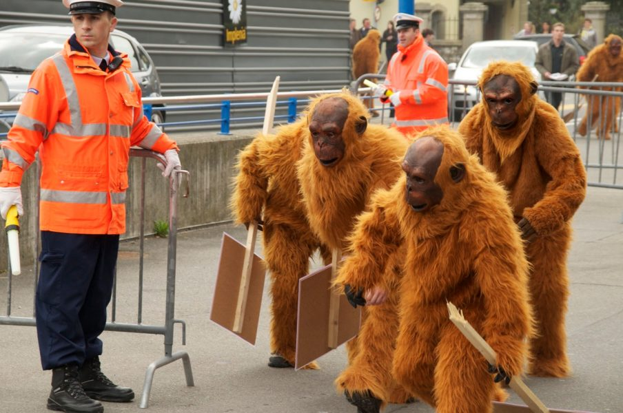 Greenpeace protesting against a company's palm oil policy. Courtesy of Greenpeace