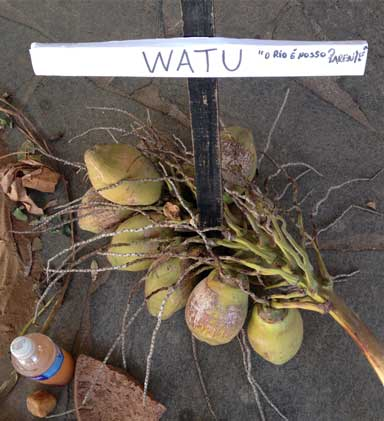 "protest. The sign on the cross says ""Watu: The river is our relative."" Photo by Zoe Sullivan"
