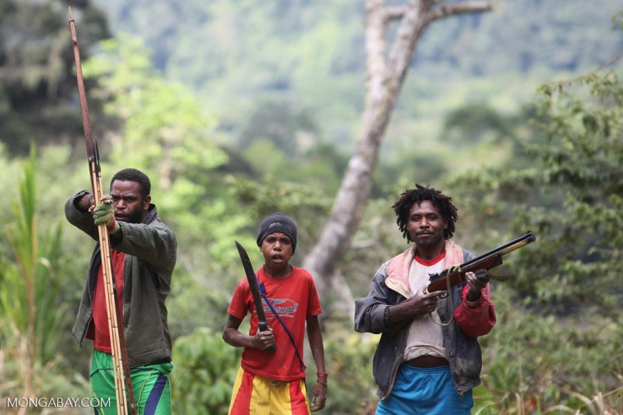 Mouley men and a boy brandish their weapons in West Papua. Photo by Rhett Butler/Mongabay