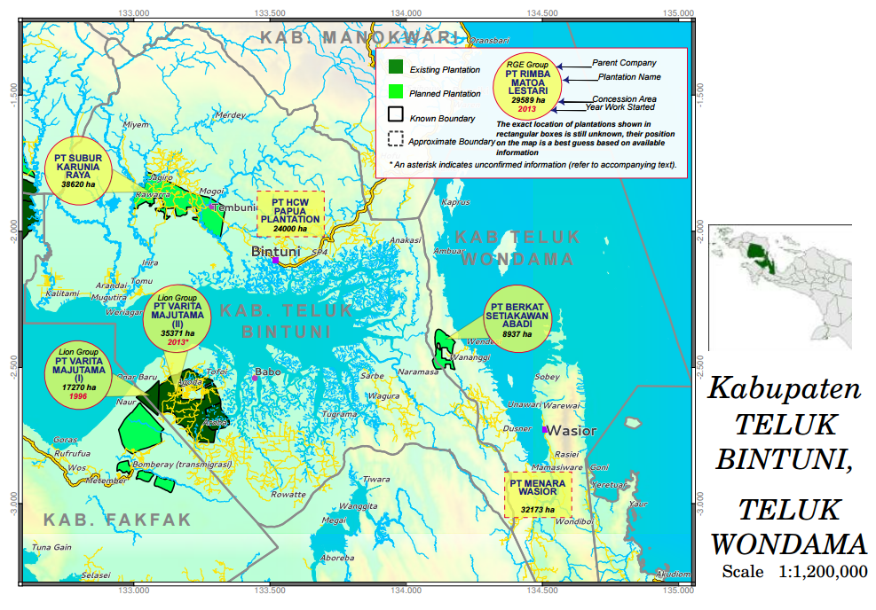 awas MIFEE's West Papua Oil Palm Atlas shows the area covered by PT Subur Karunia Raya's permit in Bintuni Bay district.