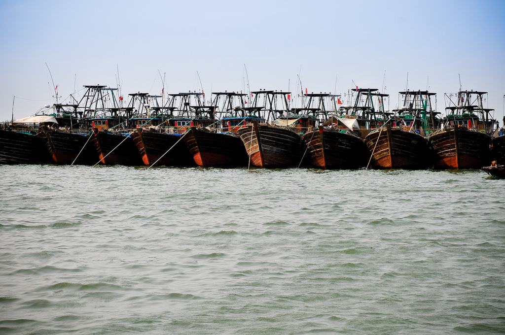 Chinese trawlers tied together in Hainan, the nation's southernmost point. Photo by C.K. Koay/Flickr