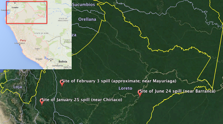 Map shows approximate locations of the three spills in 2016 on the Northern Peruvian Pipeline. Courtesy of Google Earth and Google Maps.