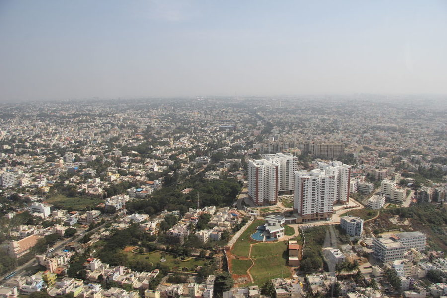 Aerial view of Bengaluru. Photo by Vinu Thomas, Wikimedia Commons, CC BY-SA 2.0.