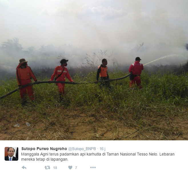 Firefighers in Riau's Tesso Nilo National Park during the Muslim fasting month of Lebaran. Photo courtesy of @Sutopo_BNPB