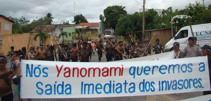 A Yanomami protest against the illegal invasion of their lands. Photo courtesy of the Yanomami people