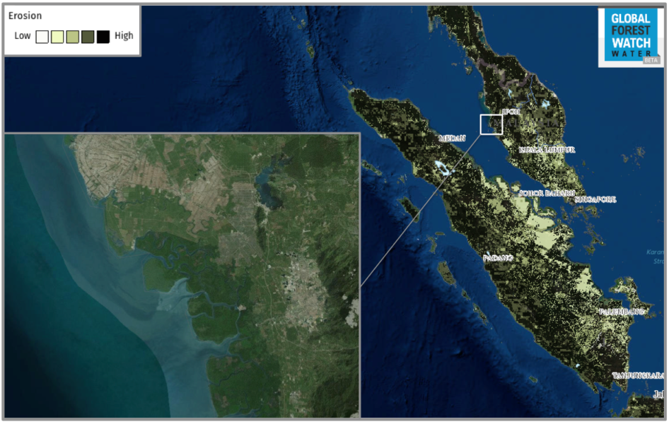 The analysis found very high erosion rates for parts of Malaysia and Sumatra. Many of these areas correlate to conversion for agriculture - like the area shown in the inset, where clear land borders a mangrove swamp.