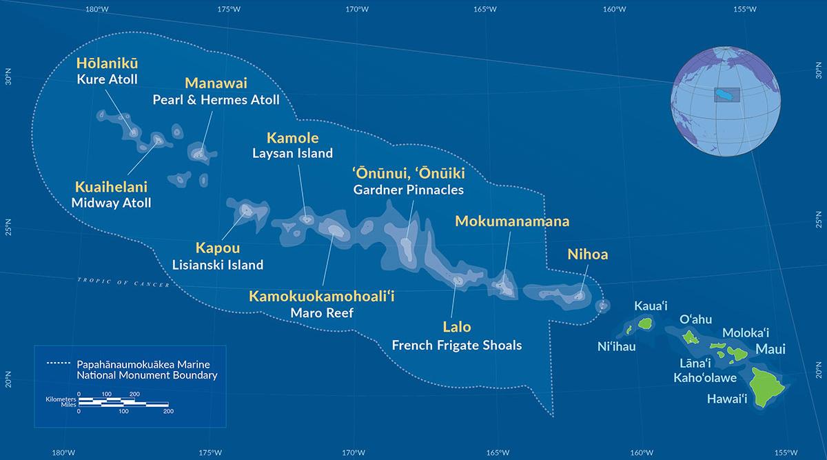 Map ofPapahānaumokuākea Marine National Monument. Map provided by U.S. National Oceanic and Atmospheric Administration. Public Domain.