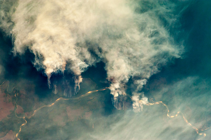 Slash-and-burn forest clearing along Brazil's Xingu River. The building of the Belo Monte mega-dam there is bringing major deforestation with it. Similar fears are foreseen for the Tapajós basin. Photo courtesy of NASA