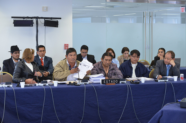 Bolivian government officials speak about the TIPNIS conflict at a meeting of the Inter-American Commission on Human Rights (CIDH). Photo by Eddie Arrossi on flickr