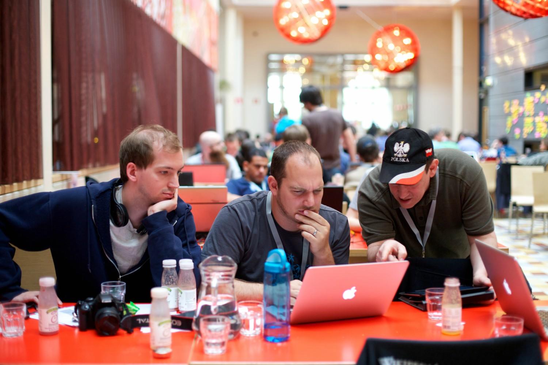 WikiMedia Hackathon in Amsterdam, 2013. Photo credit: Sebastiaan ter Burg.