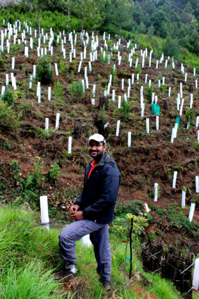 Naturalist Godwin Vasanth Bosco, who is helping with the reforestation project at Cinchona. Photo by Sibi Arasu