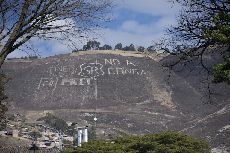 """No to Conga"" carved into a hillside in Cajamara, Peru, protests plans for the Conga gold and copper mine, which were put on hold this spring. Photo by Alan via Flickr (CC BY-NC-ND 2.0)."