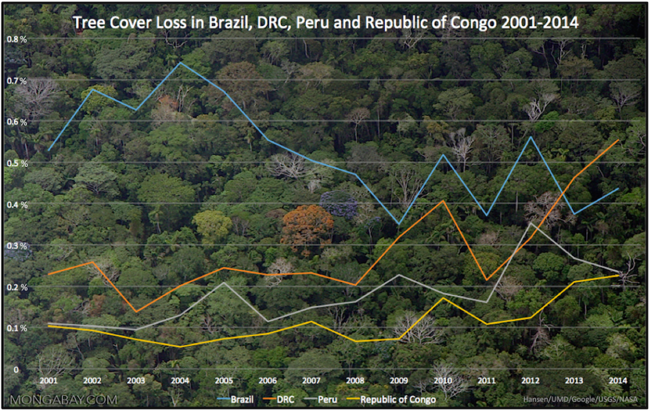 Percentage of tree cover loss in four countries over 14 years. In 2013, the DRC surpassed Brazil for the top spot. Data accessed through Global Forest Watch.