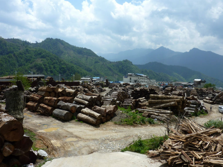 Pianma town the main entry point for logs from Myanmar into Nujiang Prefecture Yunnan. Photo courtesy of Environmental Investigation Agency