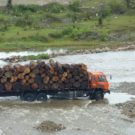 Truck carrying logs across the river border Zizhi Yunnan in 2012. Photo courtesy Environmental Investigation Agency