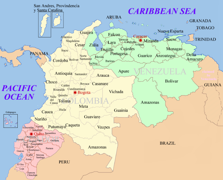 Map of Colombia. Source: Wikimedia Commons