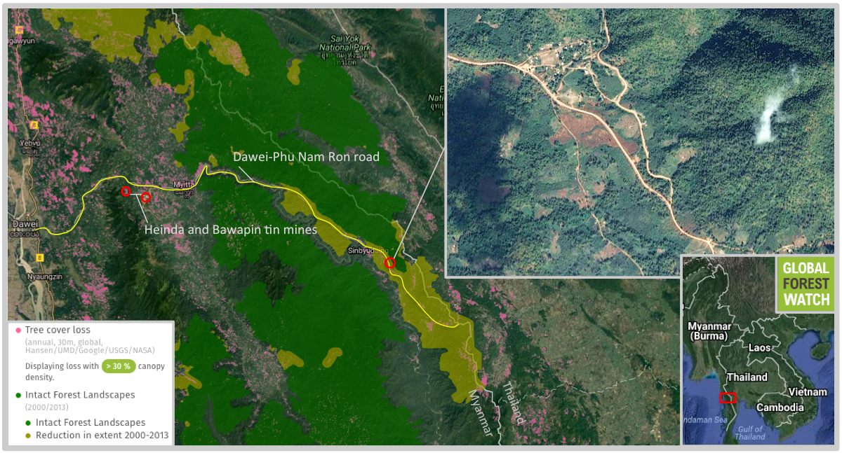 The road from Dawei to the Thai border cuts through a large IFL, with satellite data and imagery showing secondary roads and other development radiating outwards into forest that was primary as of 2000.