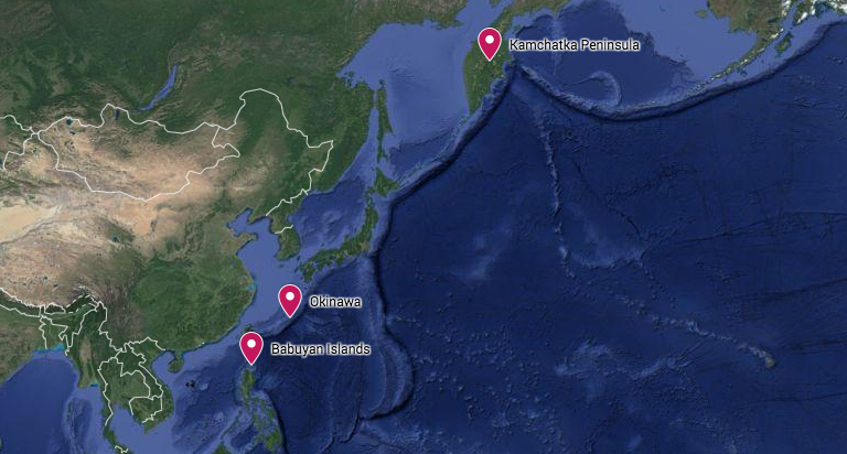 A map shows the three locations where the humpback whales Jo Marie Acebes studies have been found. They breed in the waters of the Babuyan Islands in the Philippines and feed near the Kamchatka Peninsula of Russia, and Okinawa in Japan. Map courtesy of Google Maps