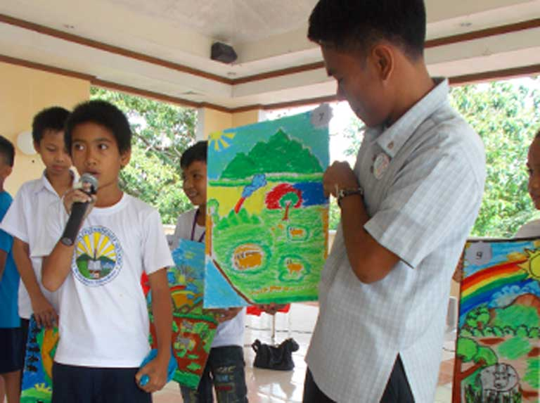 Community engagement is a key component of both BZS's and Harbon's work. Poster-making contests are one of the ways Haribon engages communities that surround habitats of threatened species in Mindoro. Photo courtesy of the Haribon Foundation