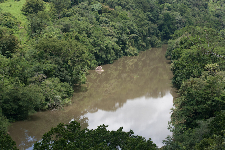 Part of the partially filled Barro Blanco reservoir, already a still lake, downstream of Kiad. Photo by Camilo Mejia Giraldo