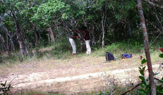 Anjali-and-research-assistant-Riahn-setting-up-a-camera-trap