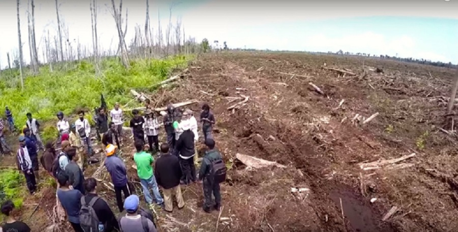 A screenshot from a video shot by Indonesia's peatland restoration agency of an interaction with security at PT RAPP's concession in Riau Islands province.