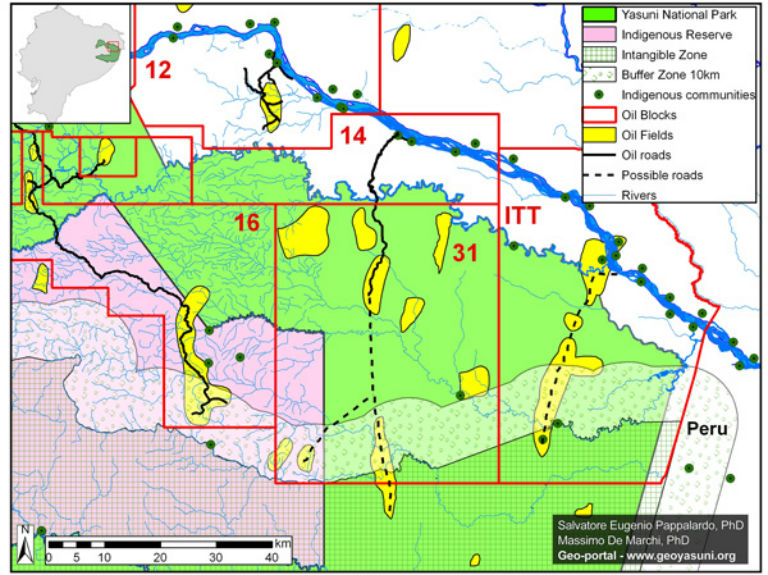 Map of oil blocks in Yasuni. Map courtesy of Image courtesy of Finer, Pappalardo, Ferrarese, De Marchi (2014)