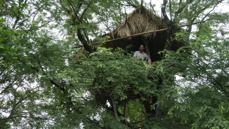 Villager U Sein Than peers out from the thick foliage of his tree house. Courtesy of David Doyle