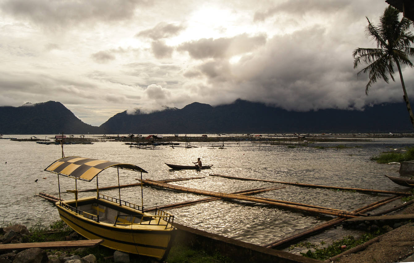 Fish farms line the edge of Lake Maninjau in 2013. Photo by Ben Pitler/Mongabay