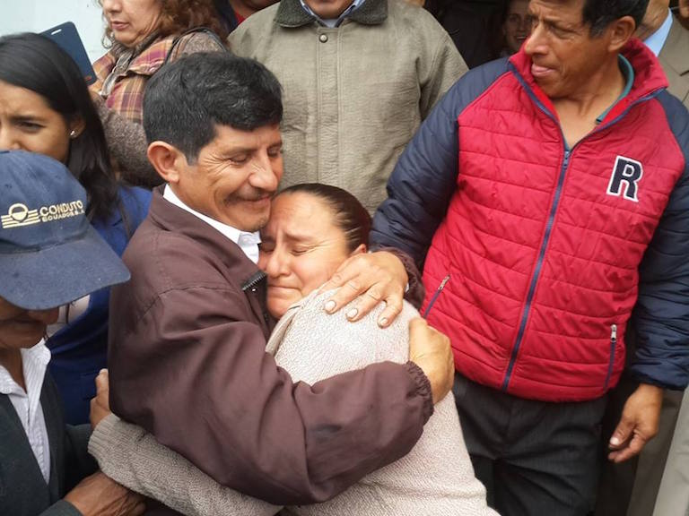 Manuel Trujillo and Manuela Pacheco embrace in January after being acquitted of terrorism charges related to their opposition to the Hidrotambo dam. Photo courtesy of INRED