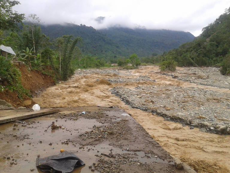 In March 2015, the Dulcepampa River over-ran its banks in the town of San Pablo de Amalí, causing major flooding that killed three people and destroyed homes and farmland. Activists blame the destruction on the placement and design of the Hidrotambo dam. Photo by Rachel Conrad