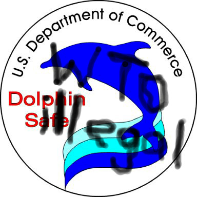 The US Department of Commerce's Tuna Safe track record, and protections of dolphins, were weakened by early ISDS cases invoked under GATT provisions. Those cases inspired this protest graphic against the WTO. Image compliments Public Citizen.