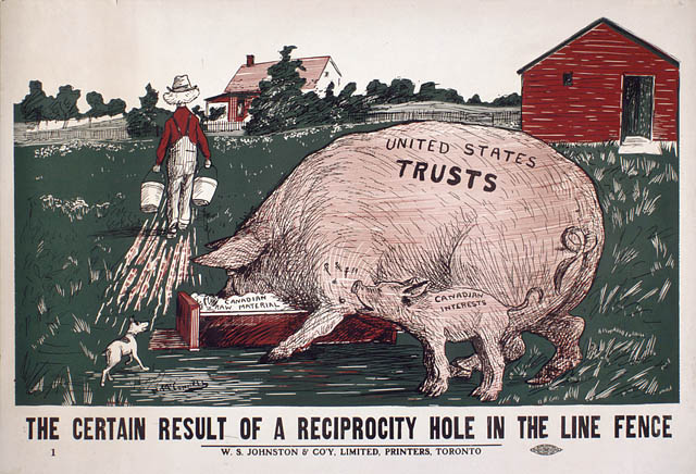 "Well before NAFTA, Canadians feared the impact of trade deals with big American corporations. A 1911 Conservative campaign poster warns that the big American companies (""trusts"") will hog all the benefits of reciprocity as proposed by Liberals, leaving little left over for Canadian interests. Image in the public domain"