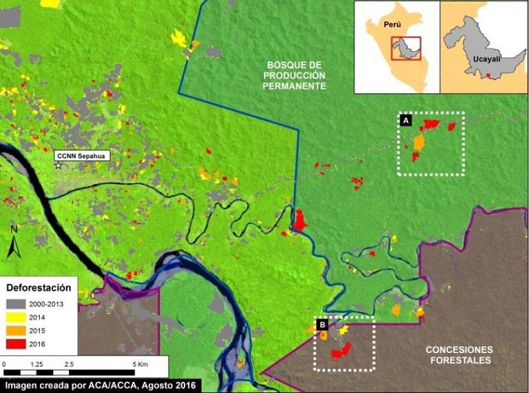 Deforestation in forests of Ucayali. Image courtesy of MAAP. Data from UMD/GLAD, Hansen/UMD/Google/USGS/NASA, MINAGRI