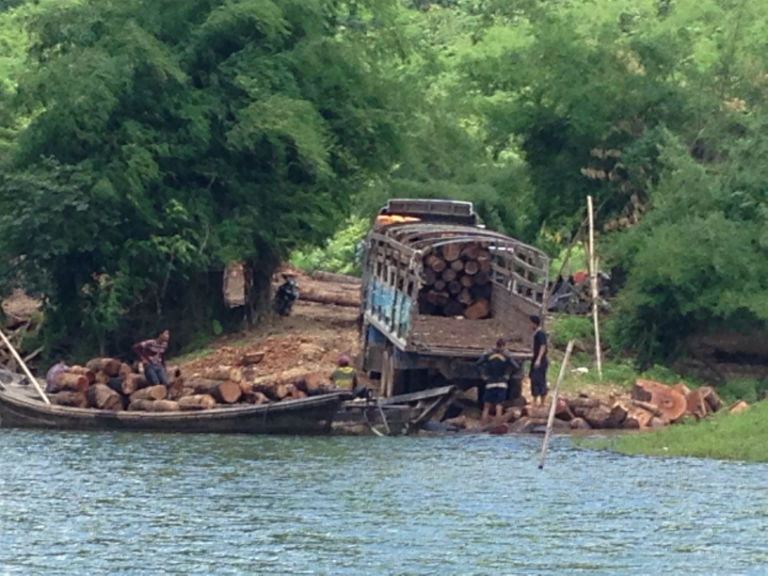 Logs on a boat and a truck at Se Daw Gyi taken by a Burmese member of parliament while he was undercover as a timber trader and provided to Mongabay. Photo courtesy of U Kway Oo