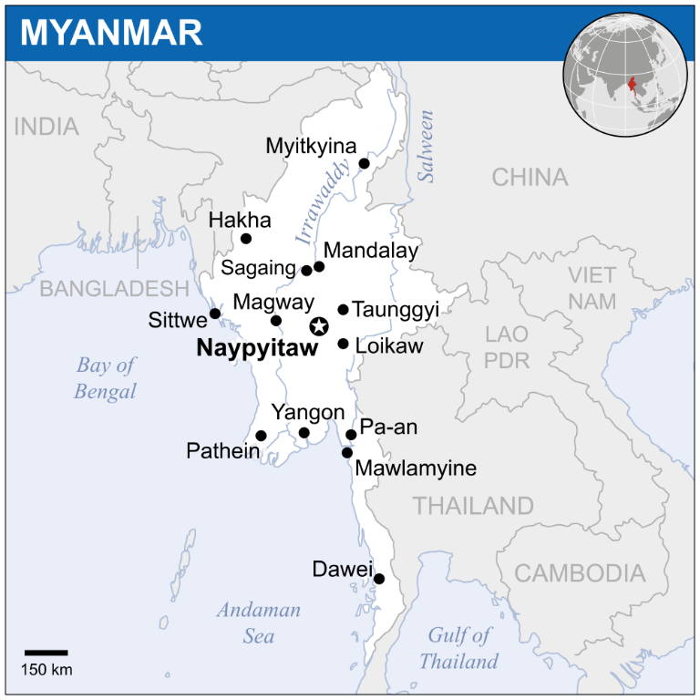 A map of Myanmar, showing Mandalay to the north of Yangon. Photo courtesy of Wikimedia Commons