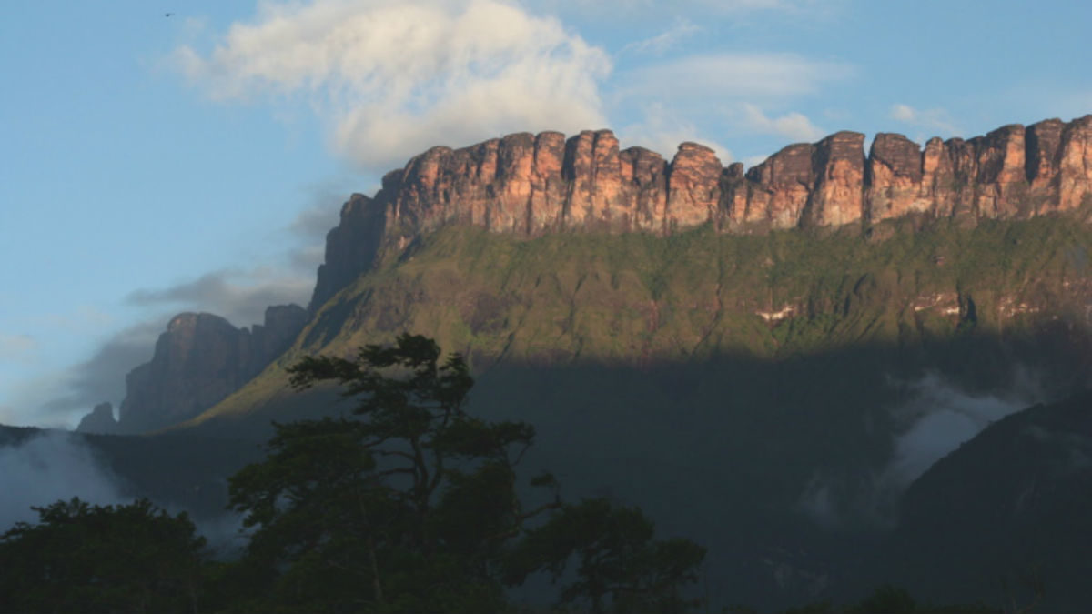Auyna Tepui in Parque Nacional Canaima, part of the Guiana Shield. Photo by Christoph Kühnhanss via Wikimedia Commons.