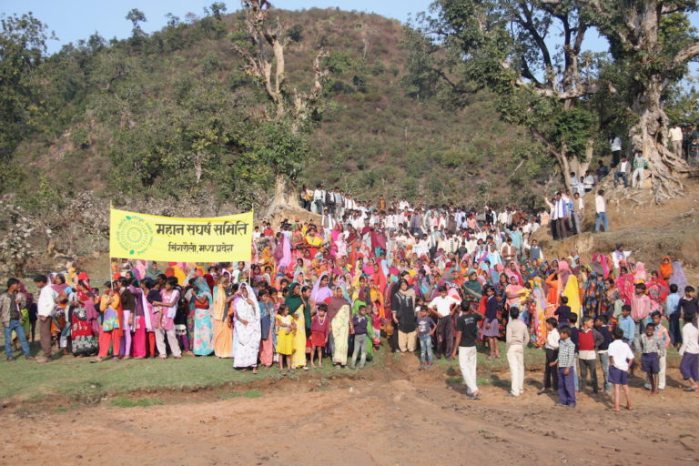 Villagers from the Mahan region of Singrauli, India, protest coal mining in Mahan forests. Photo by Vinit Gupta/Greenpeace.