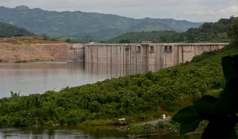 The Barro Blanco Dam in the Province of Chiriqui, western Panama. The dam is complete, and undergoing structural and operational tests. The Ngäbe-Bugle have been opposed to the project since its inception, and many want it cancelled. Photo by Camilo Mejia Giraldo