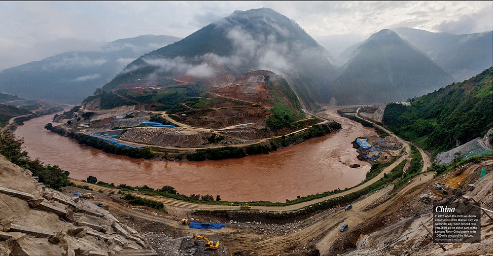 An image from National Geographic's May 2015 feature on Mekong Dams shows the Miaowei dam under construction in 2012. Image courtesy of manhhai/Flickr