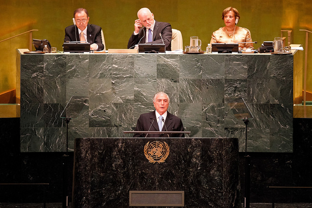 President Michel Temer of Brazil at the opening of the 71th session of the United Nations General Assembly in mid-September 2016. Photo by Beto Barata/PR on flickr Attribution-NonCommercial-ShareAlike 2.0 Generic (CC BY-NC-SA 2.0)