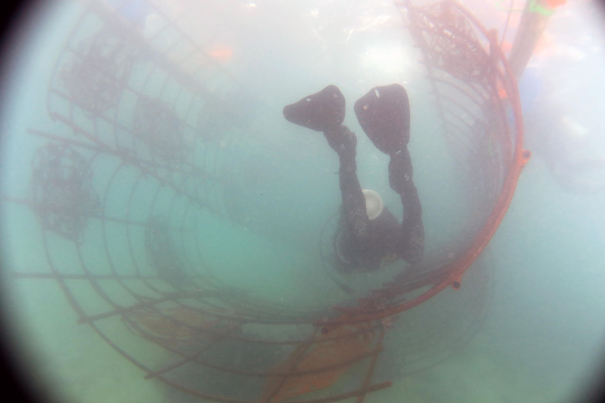 A diver swims through the curved tunnel of Domus Musculi. Photo courtesy of the ARTificial Reef Foundation