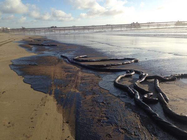 The scenery after the 2014 oil spill in Quintero Bay. Photo: Courtesy of NGO Dunas de Ritoque.