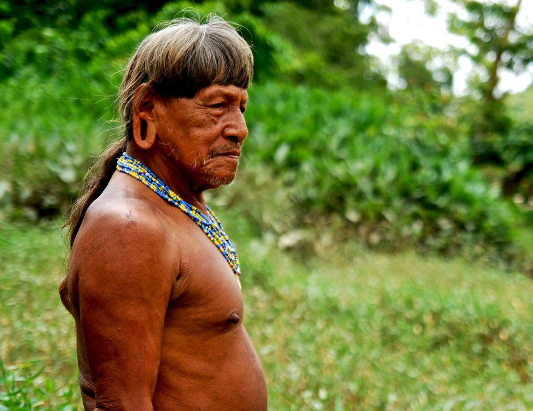 At around 80 years old, Kemperi Baihua has seen his forest drastically change with the first arrival of white men back in the 1940's. With his forest under attack and his people influenced by outsiders way of life, he just may be the last of the Waorani Shaman. - Waorani Territory, Yasuni Biosphere, Ecuador. ©Ryan P. Killackey/Pollywog Productions