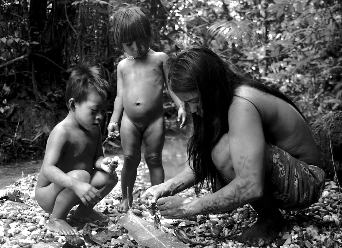 Onenka Tega shows her daughter Solee and her niece Huicama Baihua how to weave a vine through the gills of a fish. - Waorani Territory, Yasuni Biosphere, Ecaudor. ©Ryan P. Killackey/Pollywog Productions