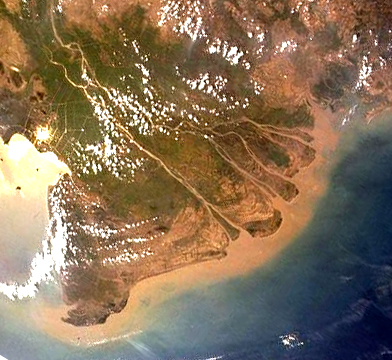 A NASA satellite image of the Mekong Delta.