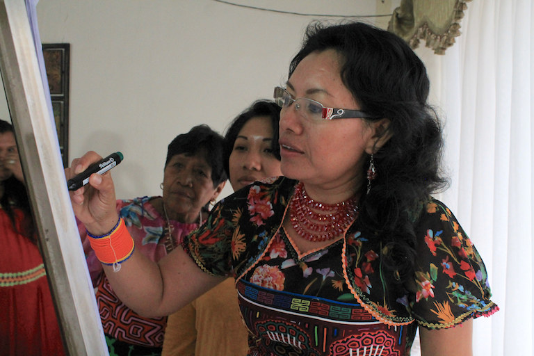 A participant in the first workshop of the UN-backed Human Rights, Food Safety and Nutrition Program for indigenous Panamanian women, which took place in Panama City in August. Photo courtesy of FAO SLM Panamá