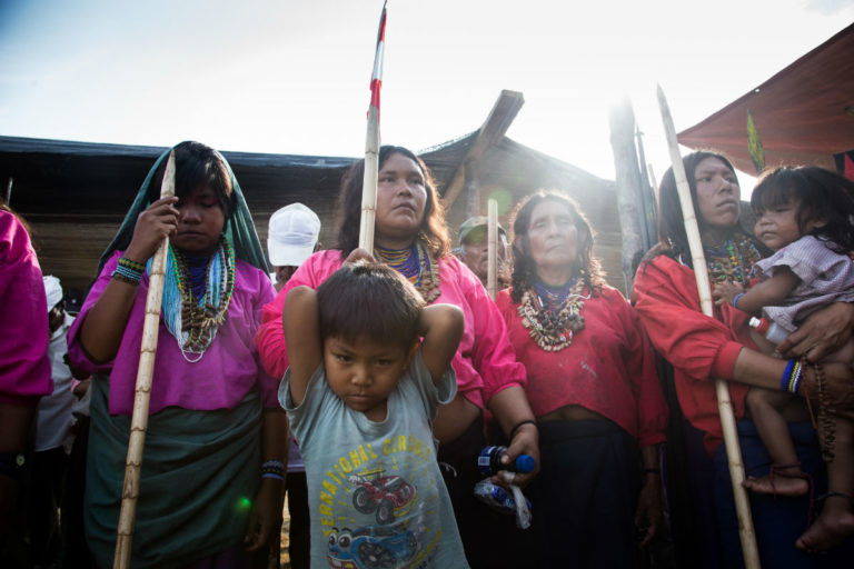 Hundreds of indigenous people from villages along River Marañon gathered at Saramuro, where Petroperu Station 1 is based, staging a protest against Petroperu and the government. Photo by Ann Wang