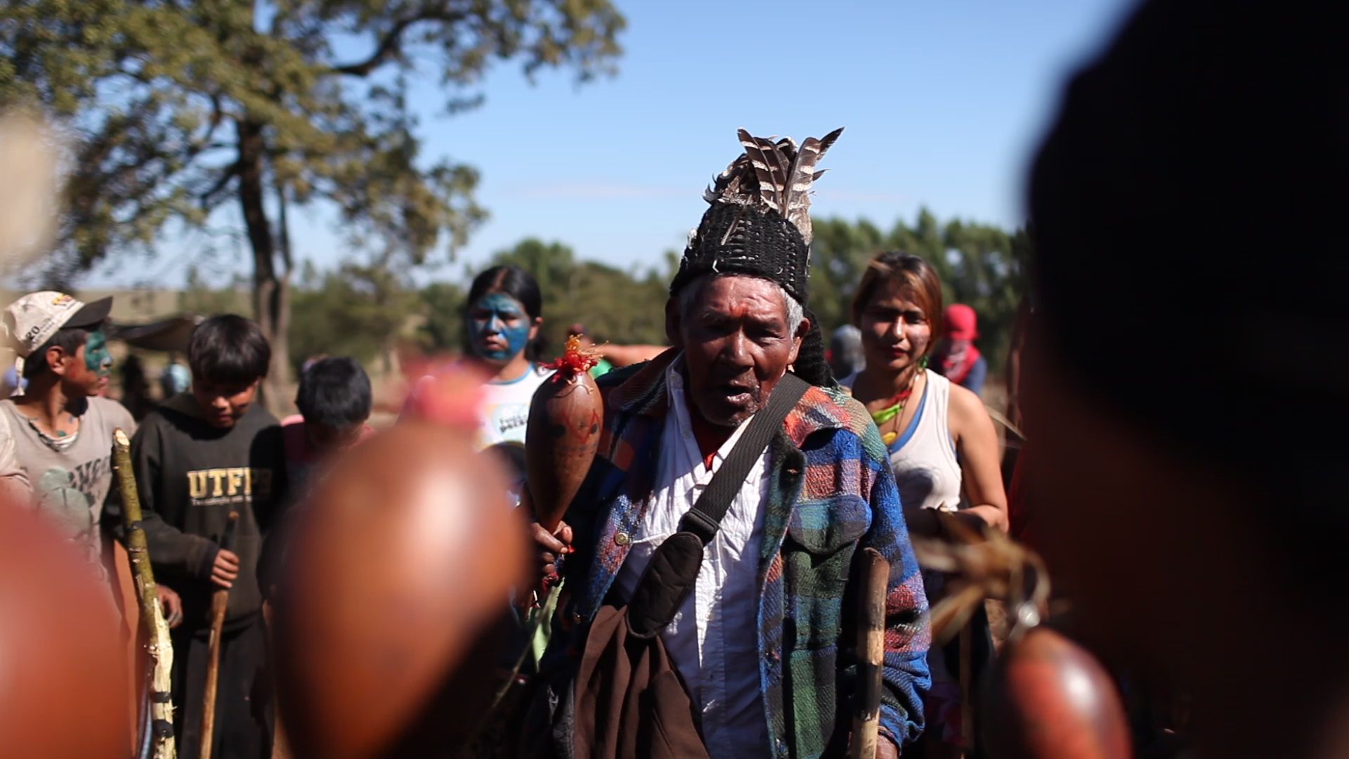 The Guarani Kaiowá gather in protest of the attack in Caarapó. Photo courtesy of CIMI